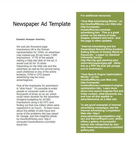 newspaper ad template 7 sle newspaper ads sle templates