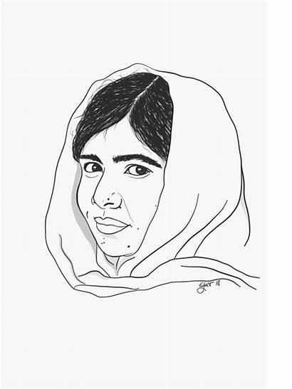 Malala Yousafzai Drawing Illustration Portrait Lady Brow