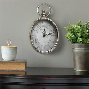 Stratton home decor antique silver oval wall clock s09595 for Antique wall decor