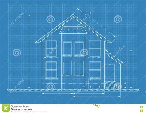 Technical Drawing House Blueprint Stock Vector