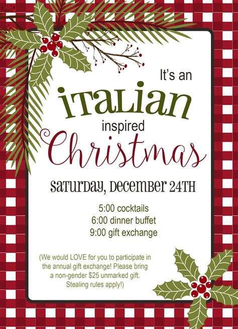 Italian Christmas Holiday Invitation Jennifer Caminiti