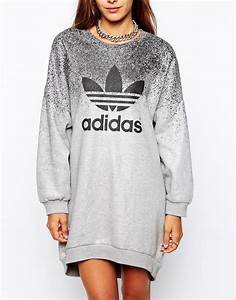 adidas originals x rita ora sweat dress in gray lyst With robe pull capuche