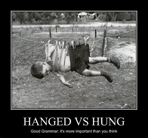 confusing words hanged  hung