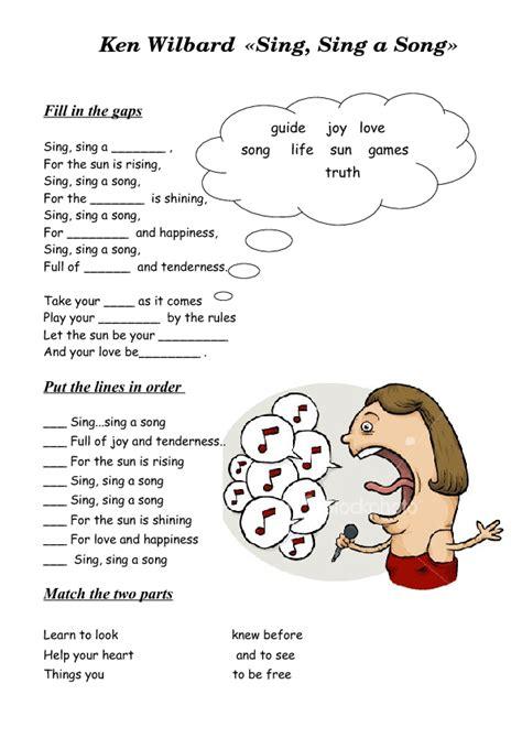 song worksheet sing sing a song