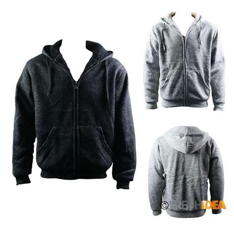 s thick winter sherpa fur hoodie zip up hooded jumper