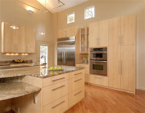 natural maple kitchen cabinets Kitchen Contemporary with ceiling lighting Clerestory island