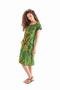 robe d ete mi longue verte imprimee et coloree betina With robe été mi longue