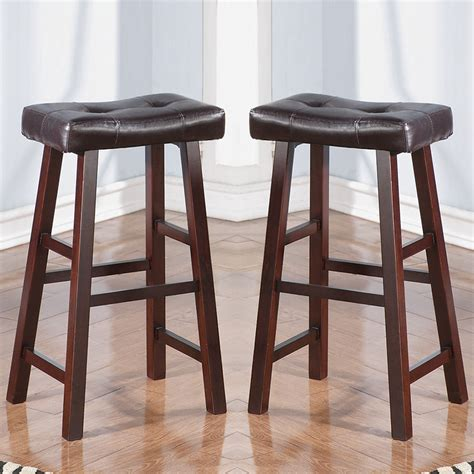 72 kitchen island set of 2 cherry faux leather solid wood 29h saddle