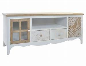 Meuble Bois Et Blanc : meuble t l en bois blanc avec des d cors en bois naturel romantique ~ Teatrodelosmanantiales.com Idées de Décoration