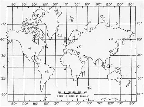 Map with Latitude and Longitude Worksheet