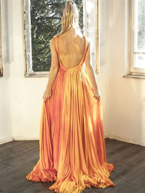 tr dress orange chiffon formal bridesmaid dress prom evening