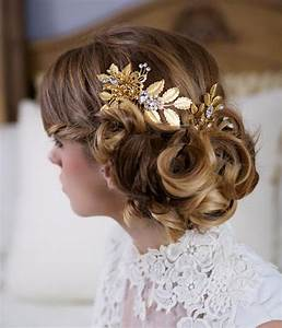 Gold Hair Pin And Comb Set Wedding Flower Headpiece