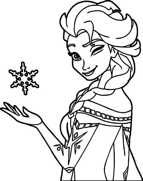 Coloring Elsa by Elsa Winking Coloring Page Wecoloringpage
