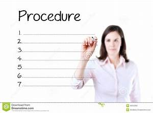 Business Woman Writing Blank Procedure List  Isolated On White  Stock Photo