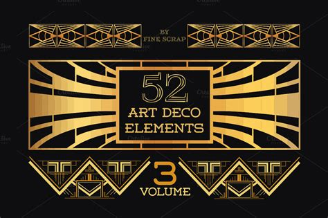 deco design elements 52 art deco design elements vol 3 illustrations on creative market