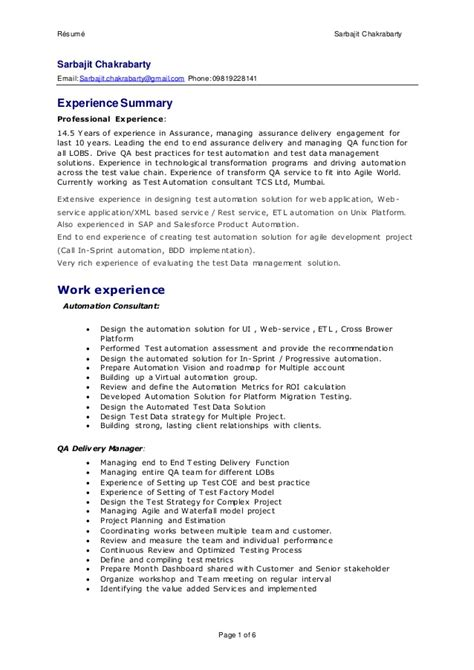 Automation Testing Experience Resume Sle by Sarbajit Resume Delivery Manager Qa Test Automation Consluting