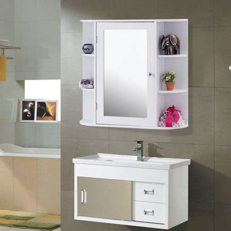 costway multipurpose mount wall surface bathroom storage cabinet mirror white finish walmart
