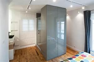 chambre salle d39eau et dressing reunis pour plus d39espace With salle d eau dans chambre