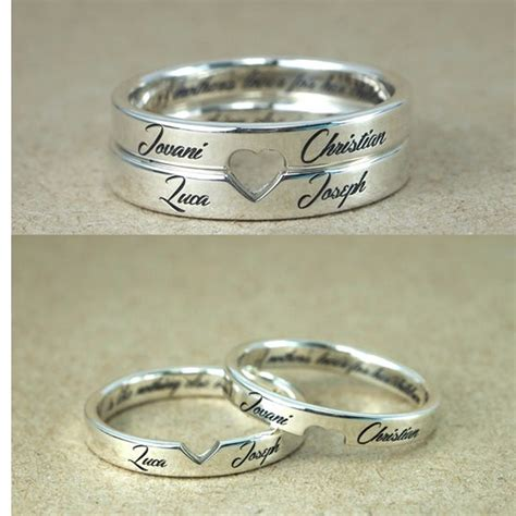 personalized stackable engagement rings customized names engraved rings cut out love couple