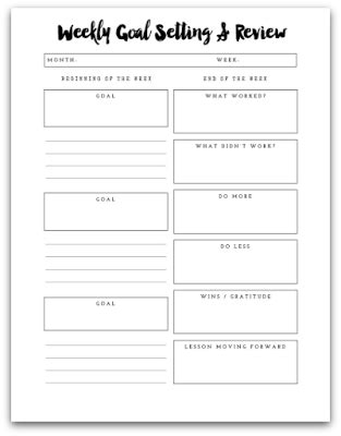 weekly action plan goal setting  working template