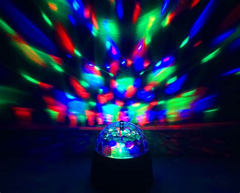 battery operated party lights led bulb portable battery power rotating spinning crystal
