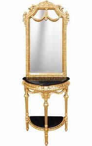Miroir Baroque Noir : console demi lune avec miroir style baroque bois dor et marbre noir ~ Teatrodelosmanantiales.com Idées de Décoration