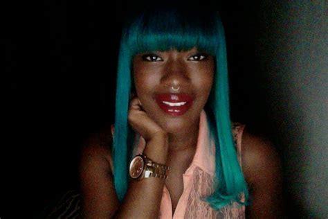 Black Girl Dark Skin Teal Hair Dye Aquababe Youtube