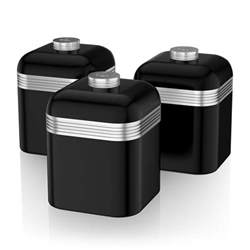 black kitchen canisters swan set of 3 tea coffee sugar black canisters jar kitchen storage containers ebay