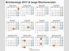 Brückentage 2017 und lange Wochenenden