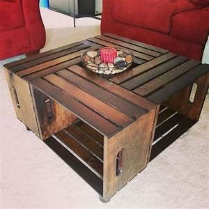 large vintage rustic country primitive style by With crate style coffee table