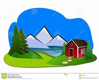Clipart Landscape Cabin Lake Cottage Winter Clip