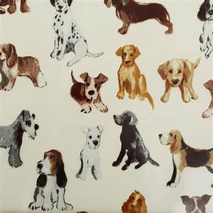 Dog Print PVC Tablecloth Oilcloth Fabric I Want Fabric