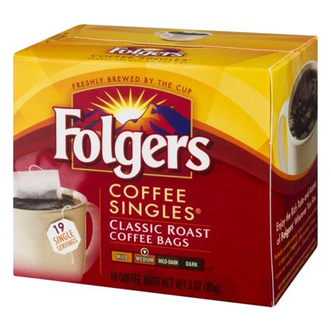 $10.09$10.09($3.36/ounce) free shipping on your first order shipped by amazon. Coffee - Singles - Folgers - Coffee Bags Classic Roast - 19 CT PrestoFresh Grocery Delivery