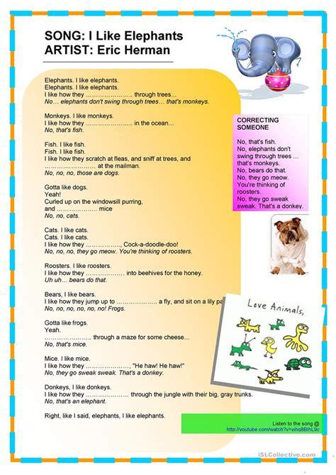 kids song   elephants lyrics gapfill worksheet