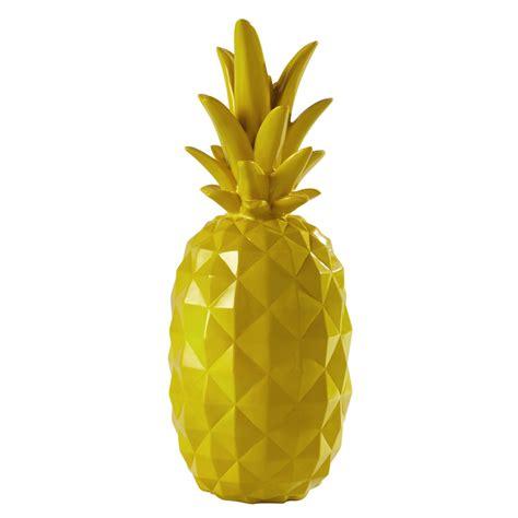 chambre ado fille ananas décoratif en résine jaune h 57 cm janeiro maisons