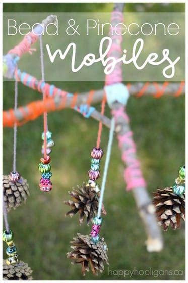 beautiful pinecone  bead mobile craft  kids