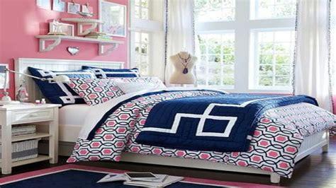 navy blue  pink bedding  teen girls interior designs