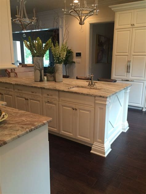 Fantasy Brown quartzite with white cabinets and