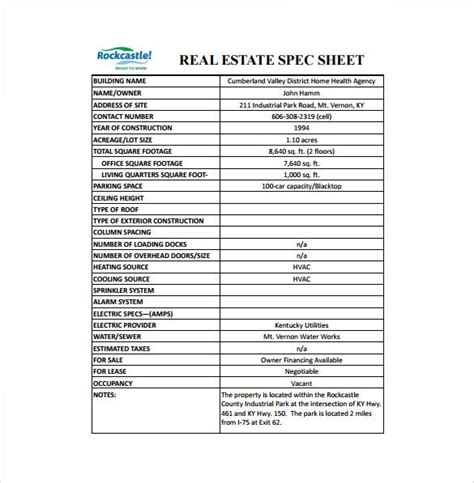 specification sheet templates  sheet templates