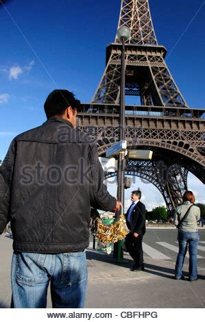 eiffel tower key rings paris france stock photo