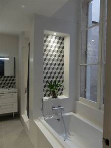 niche a carreaux de ciment geometrique contemporain With niche de salle de bain
