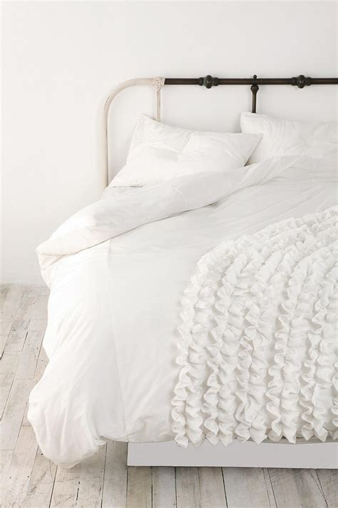 ruffle duvet cover corner ruffle duvet cover outfitters iron bed
