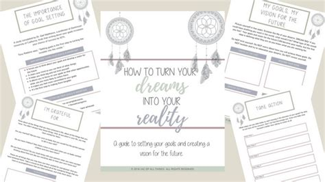 goal setting worksheets how to turn your dreams into your reality free printable jac of