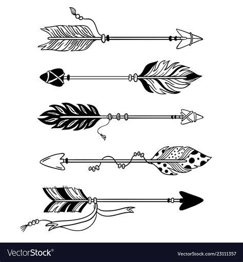 ethnic arrows hand drawn feather arrow tribal vector image