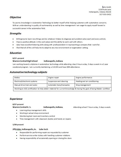 building your automotive technician geared resume auto