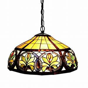 Shop warehouse of tiffany 18 in bronze tiffany style for Glass hanging floor lamp
