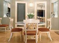decorating dining room Charming Pedestal Rounded Dinette Table Set In White For 4 Added Wall Lights Fixtures On Grey ...