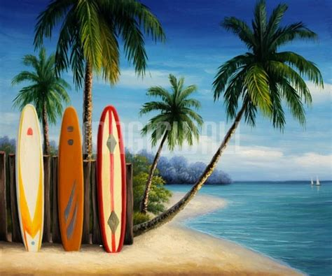 island surfboards  palm trees wall murals wall
