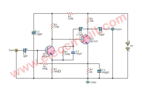 Four Preamplifier Circuits Using Transistors