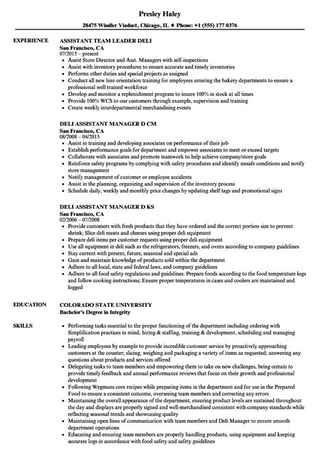 Deli Resume by Deli Assistant Resume Sles Velvet